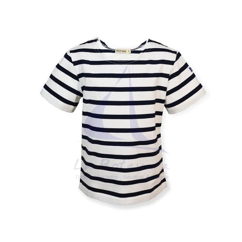 White & navy blue striped Batela t-shirt for boy 2