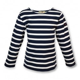NAVY BLUE & WHITE LONG SLEEVE BATELA T-SHIRT