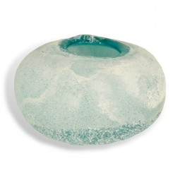 BLUE ICE GLASS CANDLE HOLDER