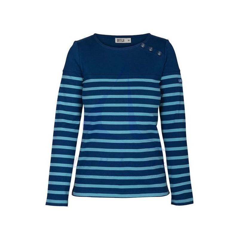 NAVY BLUE & EMERALD LONG SLEEVE WOMEN T-SHIRT
