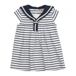 WHITE & NAVY BLUE STRIPED BATELA BABY DRESS