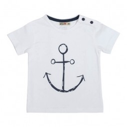 WHITE BATELA BABY T-SHIRT WITH ANCHOR