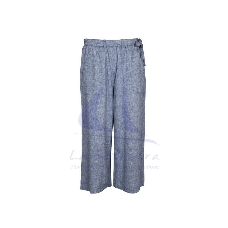 GREY LINEN BATELA CROP TROUSERS
