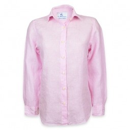 PINK FINE-STRIPED LINEN BLOUSE