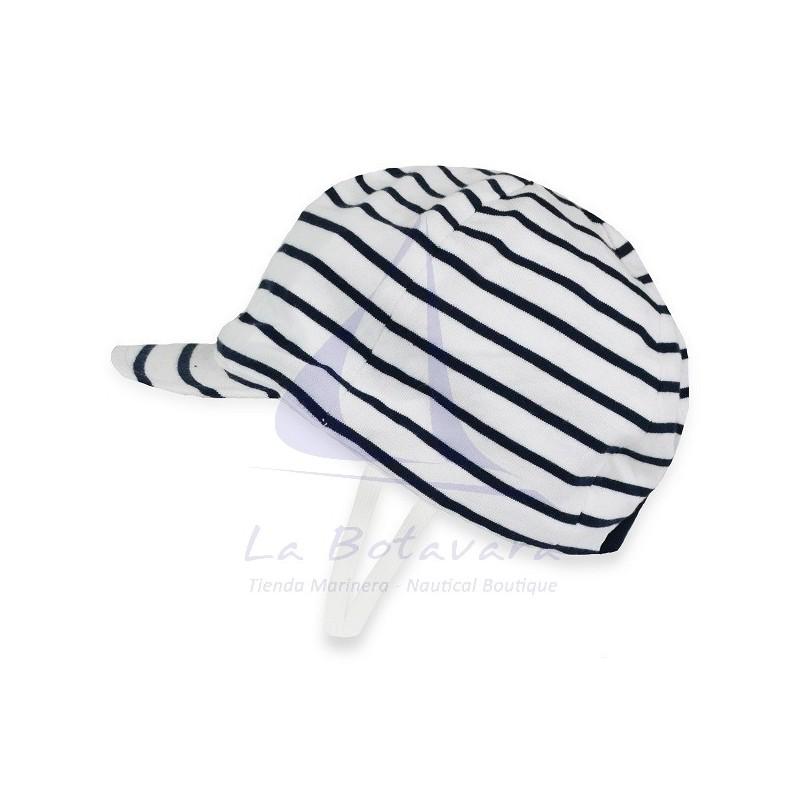 WHITE & NAVY BLUE BATELA BABY CAP