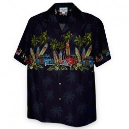 CAMISA HAWAIANA PACIFIC LEGEND AZUL OSCURO CON TABLAS DE SURF