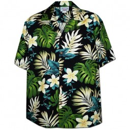 CAMISA HAWAIANA PACIFIC LEGENDNEGRA CON FLORES