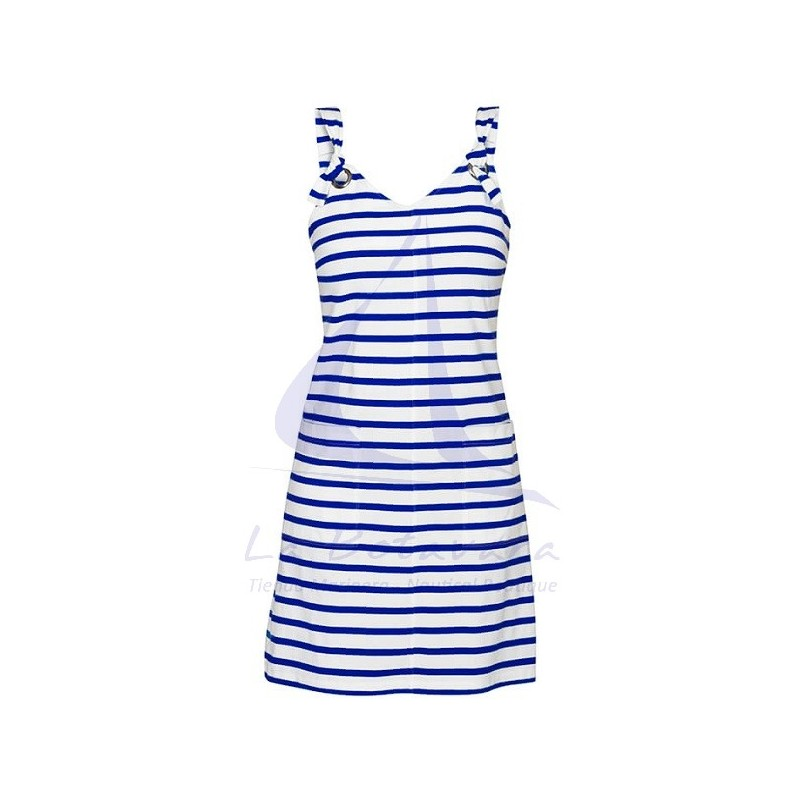 WHITE AND BLUE STRIPED STRAPS DRESS