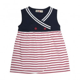 WHITE & RED BATELA CROSSED BABY DRESS