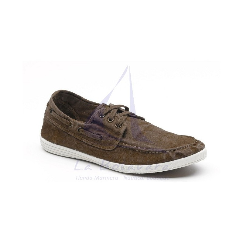 Coffee brown Natural World boat shoe