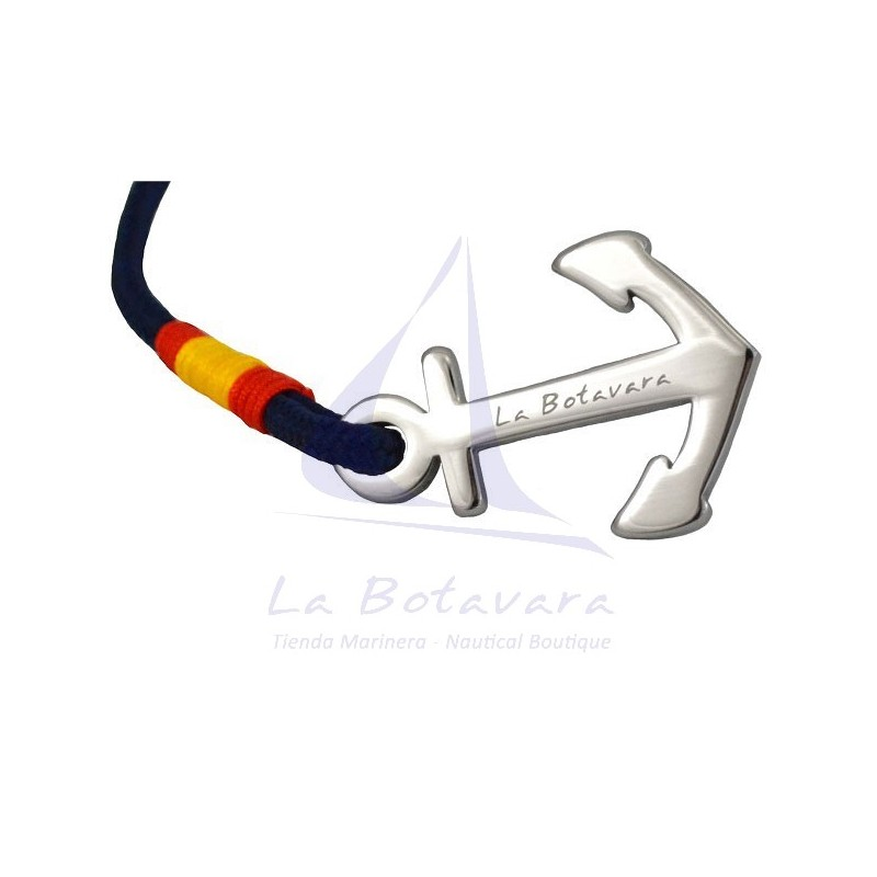 STEEL ANCHOR BRACELET WITH SPAIN FLAG & NAVY BLUE ROPE