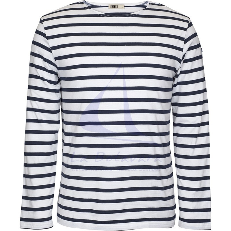 WHITE & NAVY BLUE LONG SLEEVE BATELA T-SHIRT 2104 2