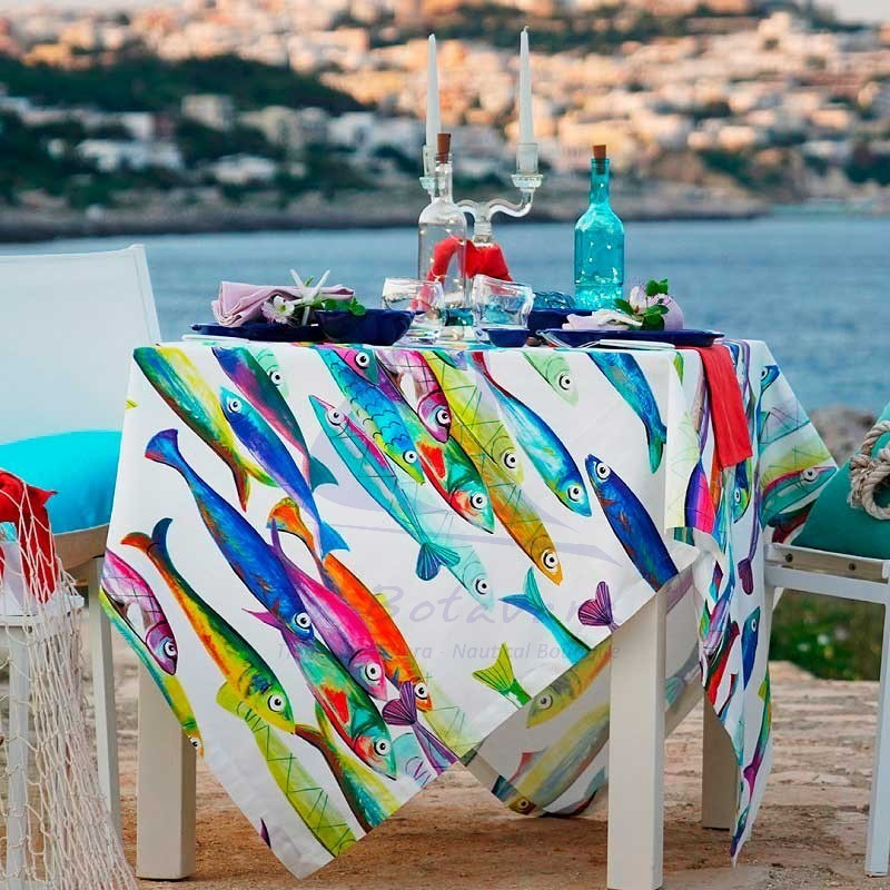 Mantel Poisson bleu Tessitura Toscana