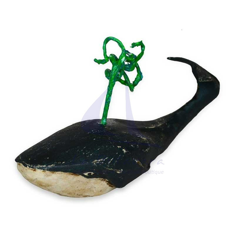 Small blue & green wood whale mod1