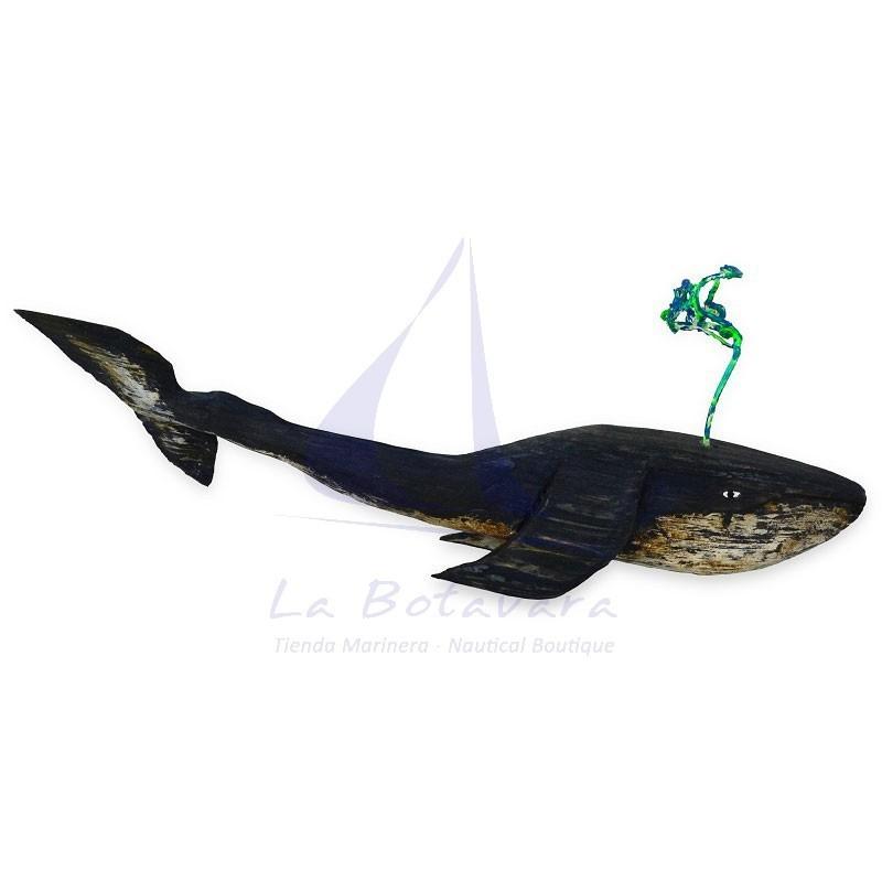Ballena azul con cola levantada