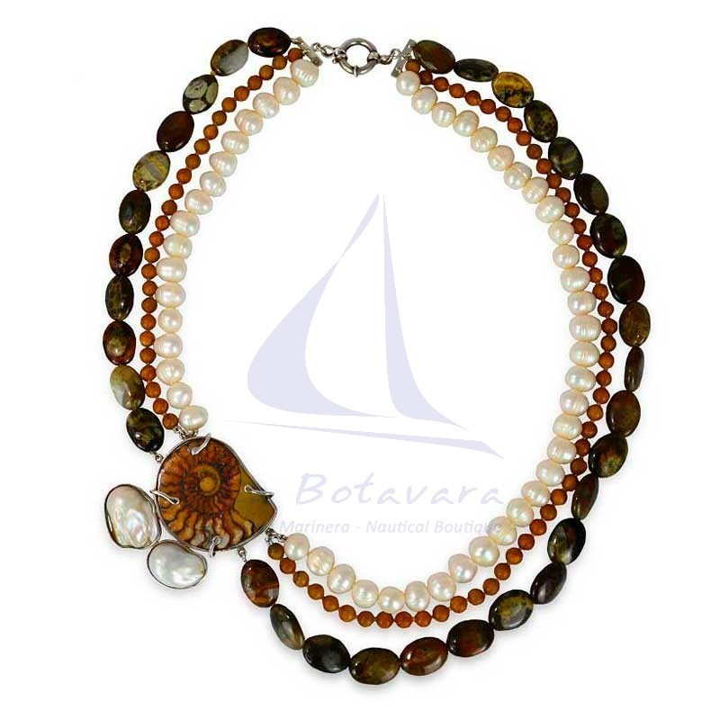 Ammonite & pearls necklace