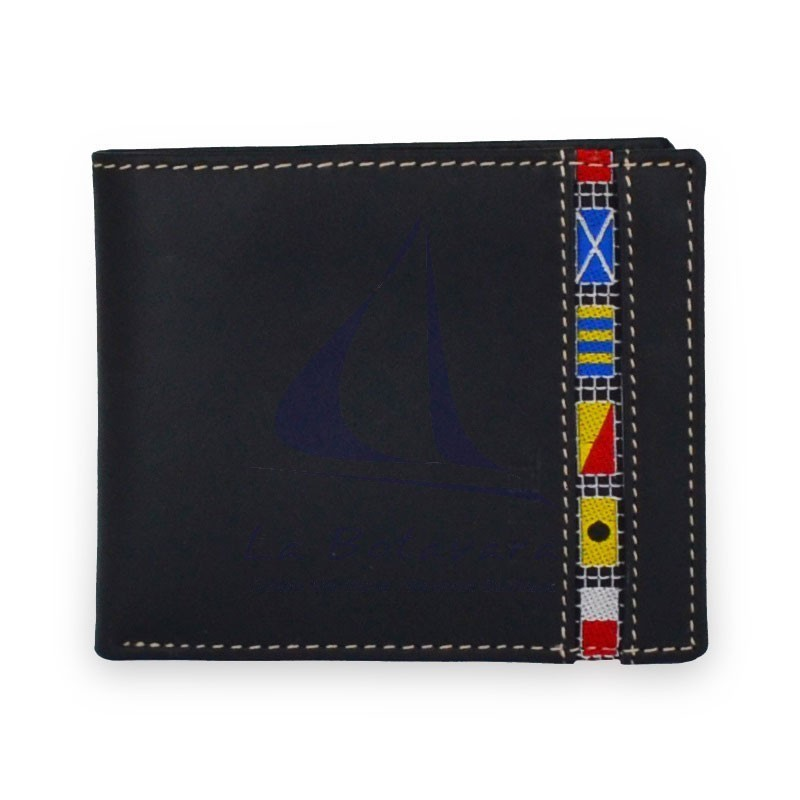 American blue leather wallet with nautical flags