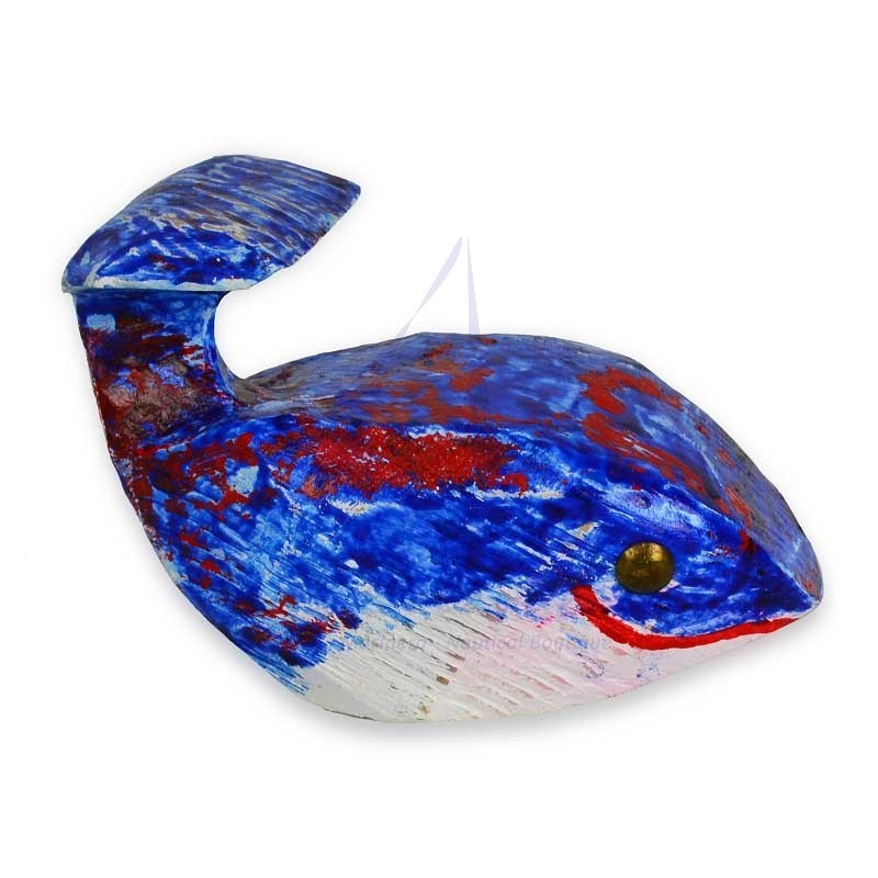 Blue and red handmade whale