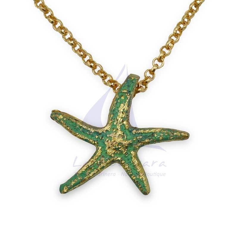 Colgante con estrella de mar de latón verde