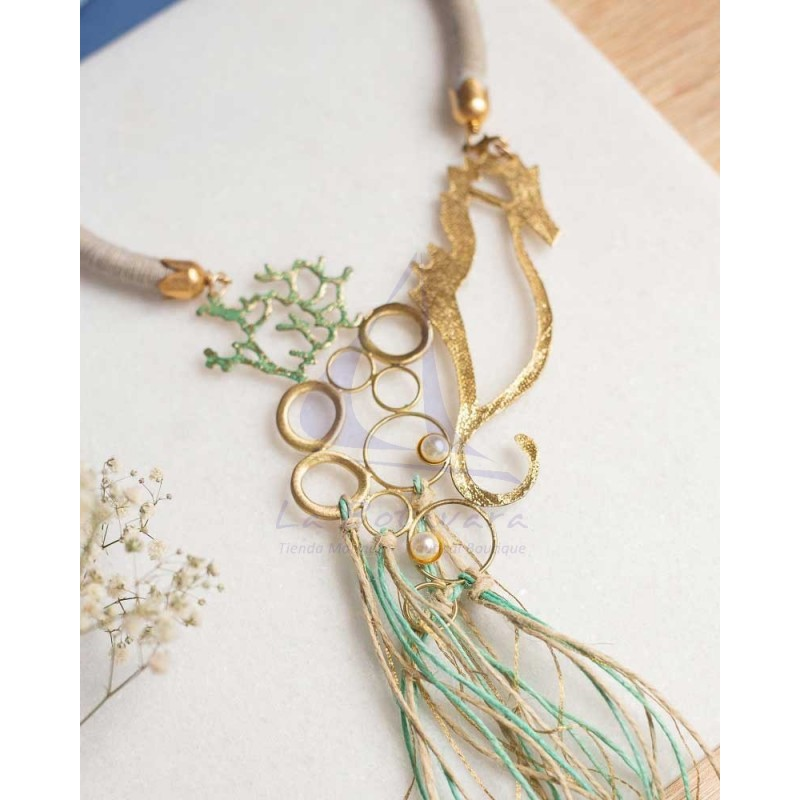 Seahorse brass necklace