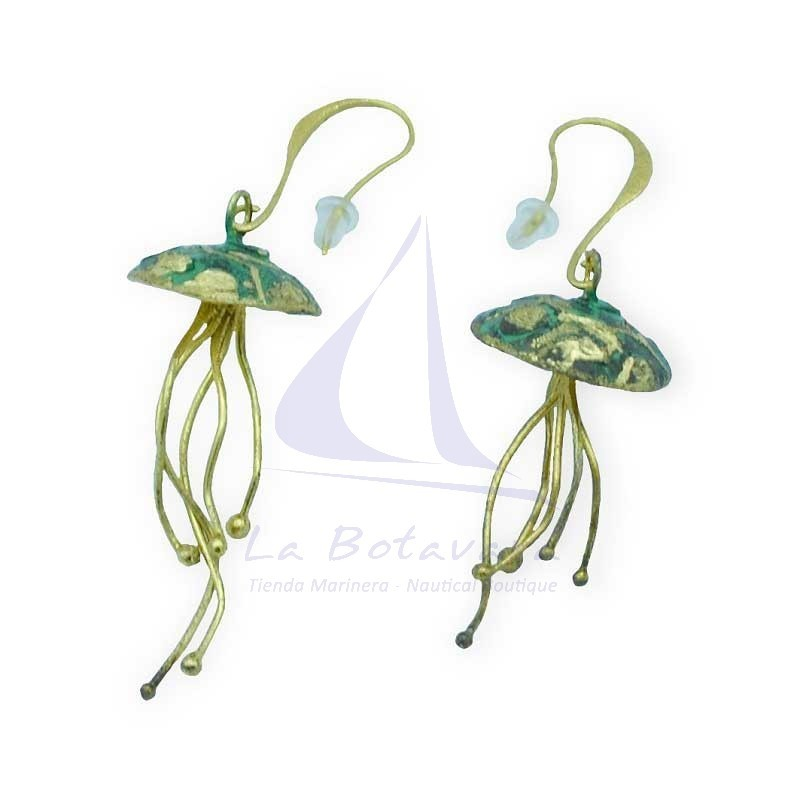 Jellyfish brass earrings