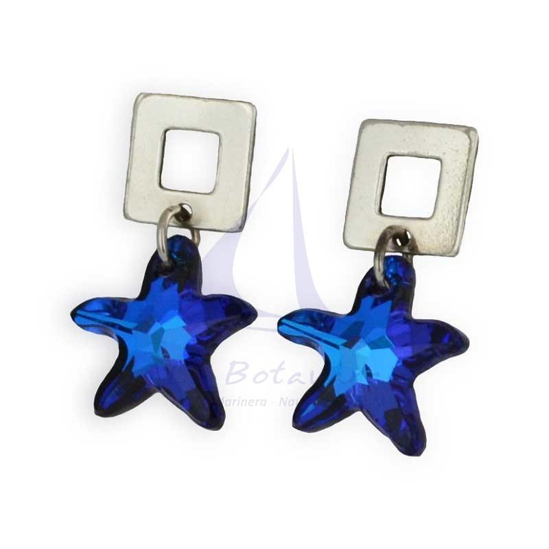 Pendientes estrella de mar azul cristal Swarovsky
