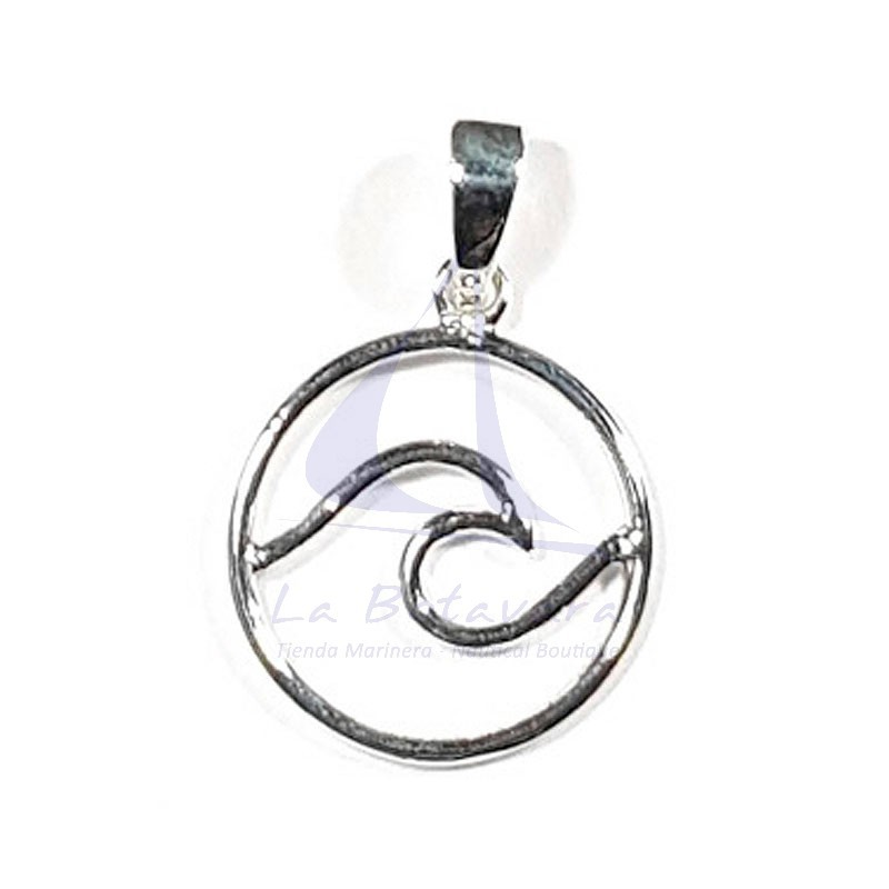 Sterling silver wave circle pendant