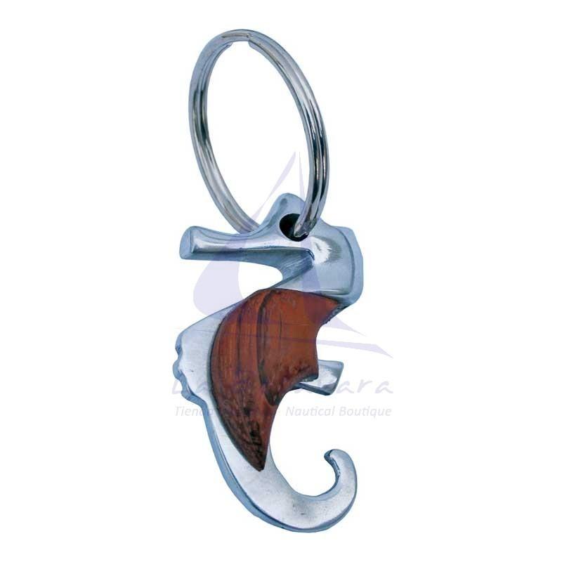 Metal & wood seahorse keychain
