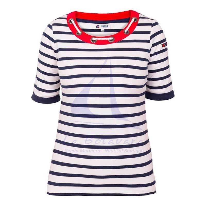 Camiseta Batela de mujer con cuello de cabo blanco y marino