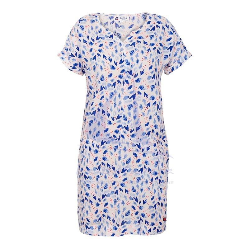 Vestido Batela de viscosa anemonas de mujer de manga corta