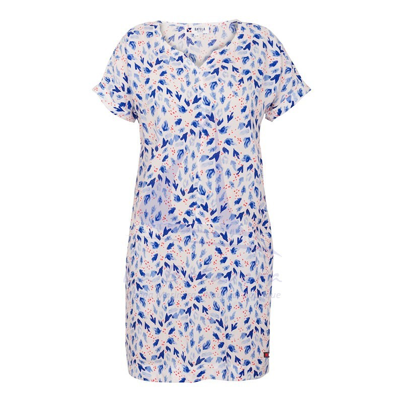 Viscose Batela short sleeve dress for woman with anemone print