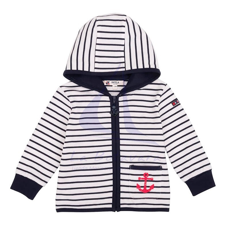 White and navy striped baby jacket with red anchor