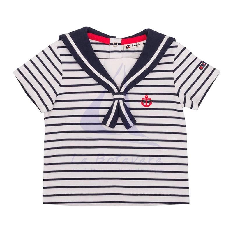 Set of white & navy striped Batela baby t-shirt & navy blue shorts