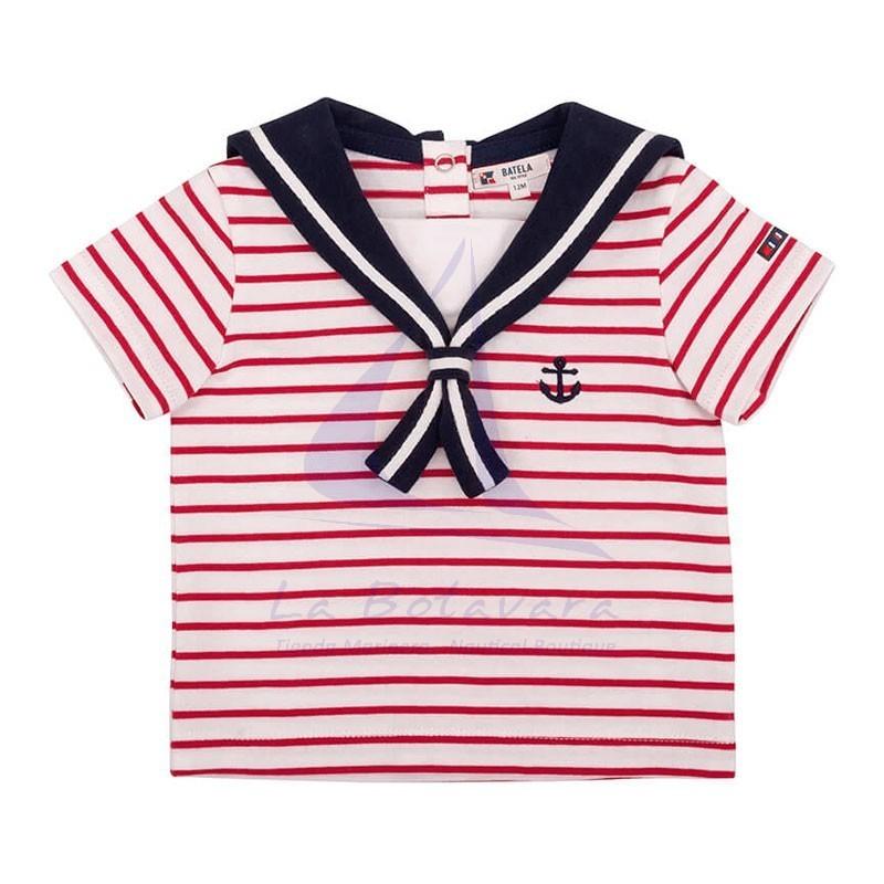 Set of white & red striped Batela baby t-shirt & navy blue shorts