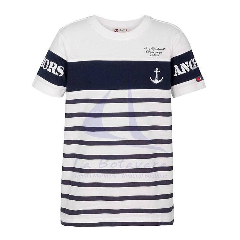 White & navy blue Batela anchors t-shirt for boy