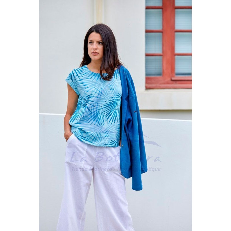 Camiseta Batela de viscosa palmeras azules de manga corta