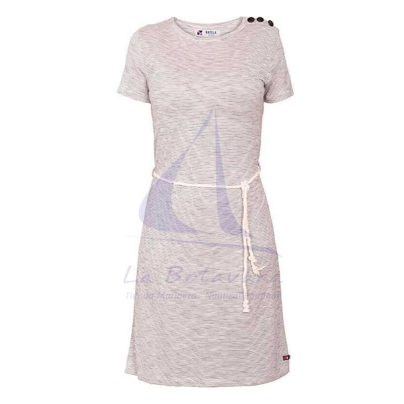 Vestido Batela de mujer a rayas con cinturón de cabo