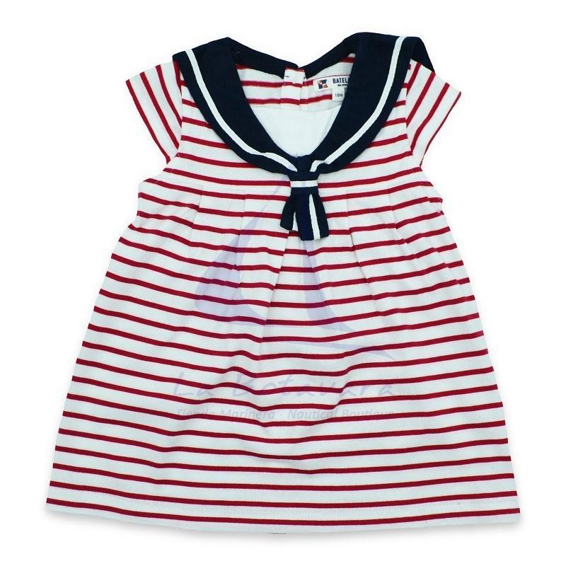 WHITE & RED STRIPED BATELA BABY DRESS