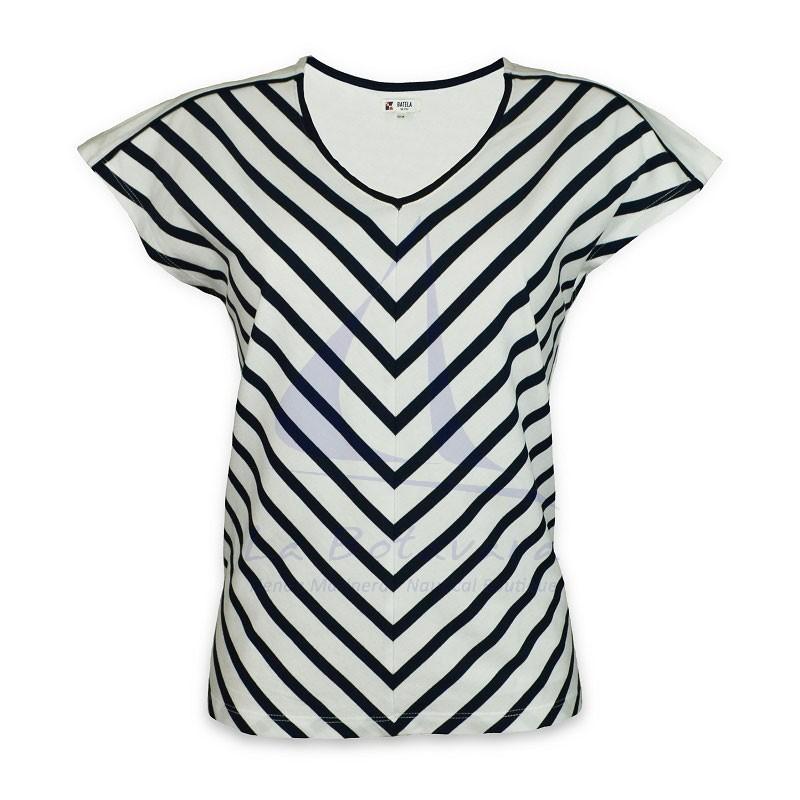 Camiseta Batela de mujer con rayas en pico