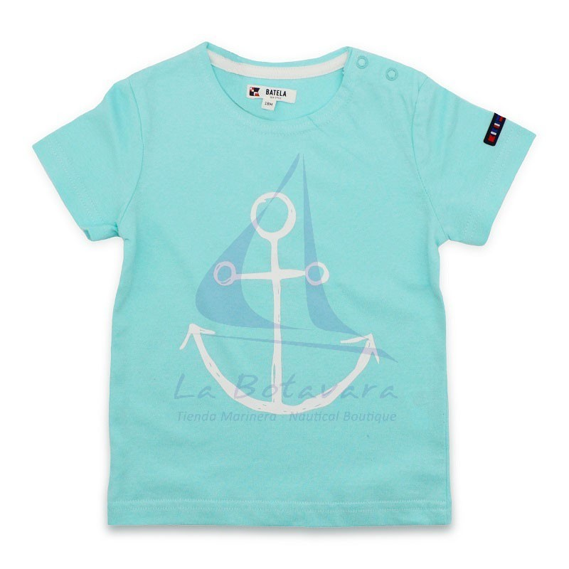 SKY BLUE BATELA BABY T-SHIRT WITH ANCHOR