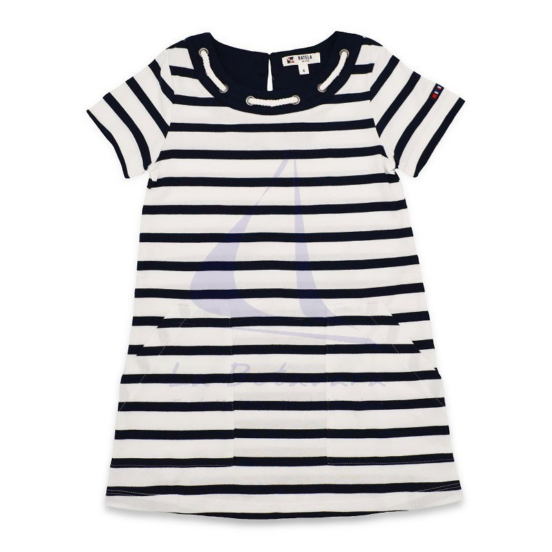 White & navy blue Batela girl dress with rope collar