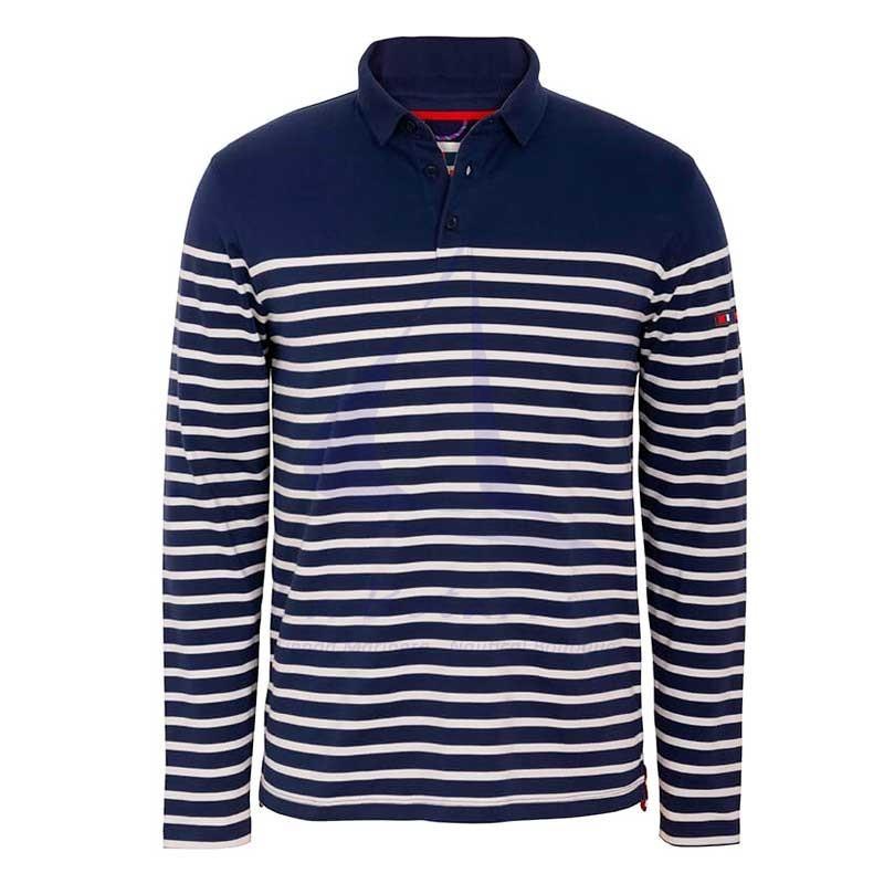 Navy blue and ecru long sleeve Batela men's polo shirt