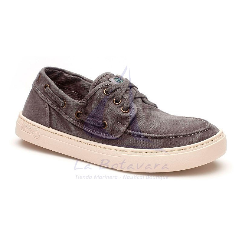 Grey Natural World boat shoe with white sport sole