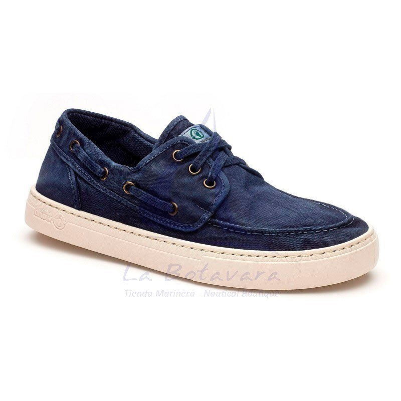 Sea blue Natural World boat shoe with white sport sole