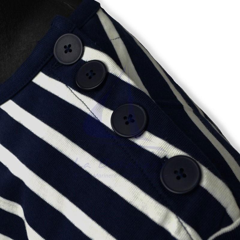 Navy blue and ecru long sleeve Batela men's T-shirt shoulder buttons