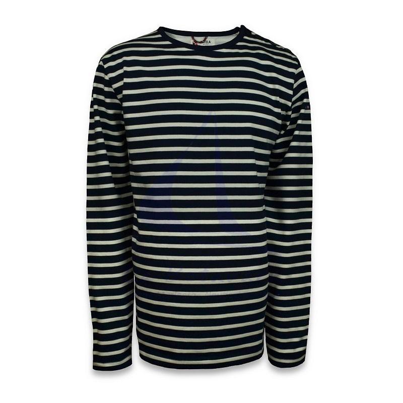 Navy blue and ecru long sleeve Batela men's T-shirt