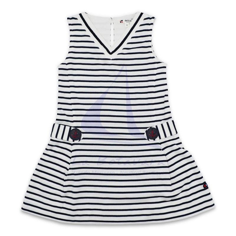 Vestido Batela de niña a rayas con cuello de pico blanco y azul marino