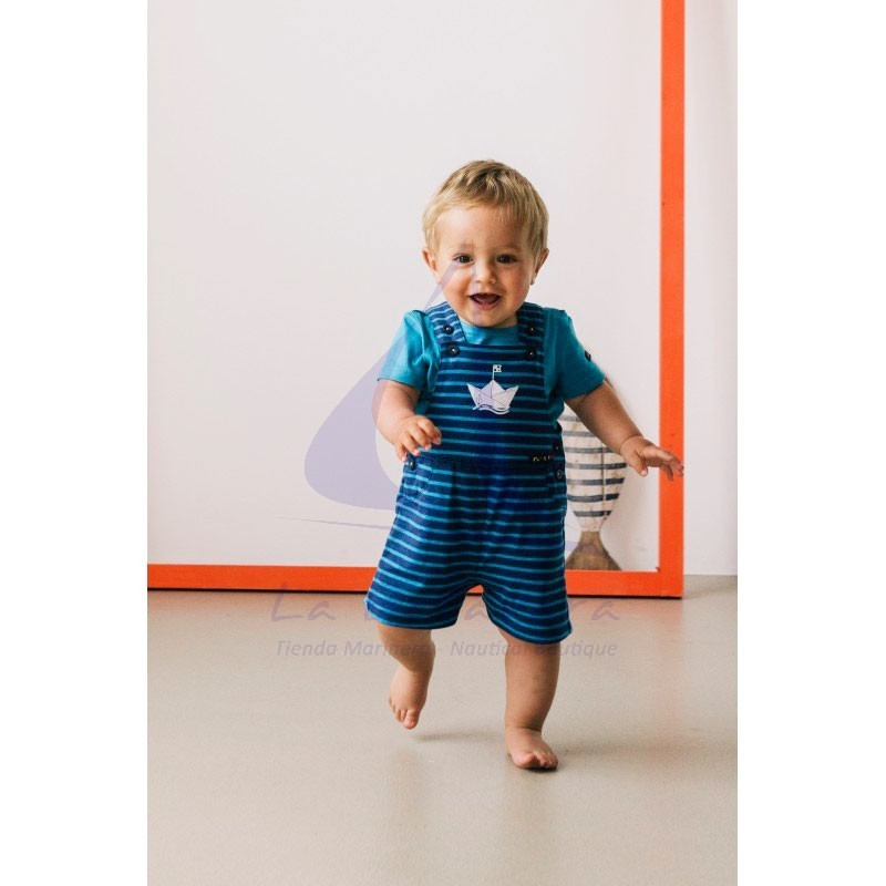 Ink blue & ocean blue striped Batela baby overall with boat detail