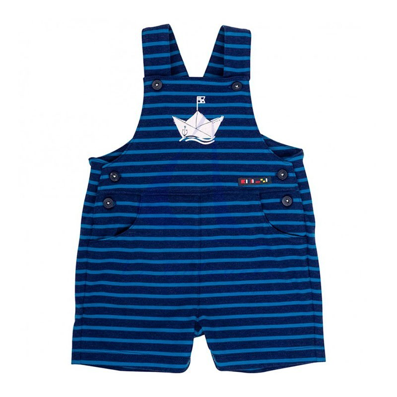 Ink blue & ocean blue striped Batela baby overall with boat detail 2