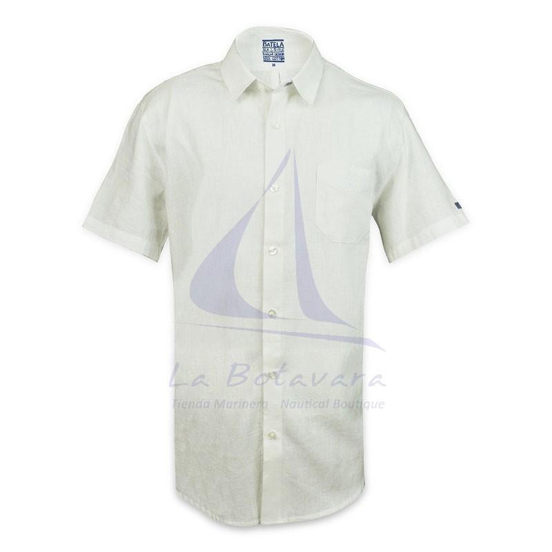 Camisa Batela de lino blanca de hombre